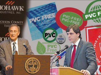Коммунист Андрей Клычков (справа) помогает мультимиллиардеру Джеффри Лорбербауму  (слева) в расширении Mohawk Industries, Inc. на восток». Фотоколлаж